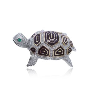 Creations of Nature Tortoise diamond Pin Praschnik Fine Jewelry Design Miami