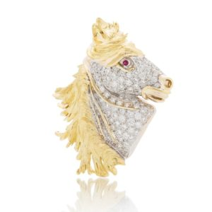 Creations of Nature Horse Diamond Pin Praschnik Fine Jewelry Design Miami